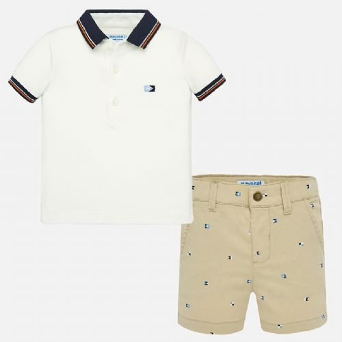 White Polo Shirt and Shorts Set 6 Months